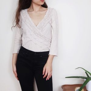 Anthro Deletta Josephine Smocked Wrap Top